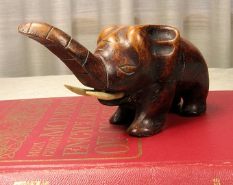 Vintage Wood Elephant Hand Carved