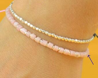 Sterling silver and pink opal bracelet