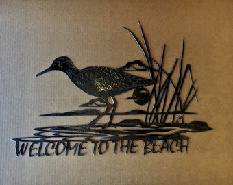 Welcome to the beach sign - Metal Art