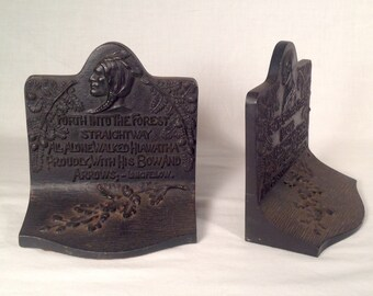 Arts and Crafts Era Song of Hiawatha Cast Iron Bookends