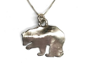 Bear Silhouette Pendant Sterling Silver Bear Necklace