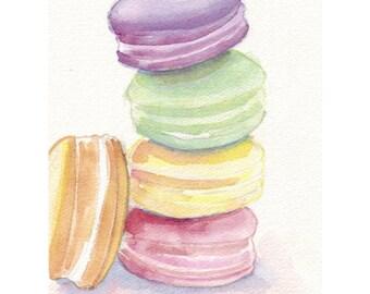 Macarons no. 5 Watercolor Painting 8x10 Print, Four Pastel Laduree Macarons, Still Life Food Watercolor, 8x10 Print