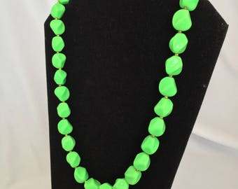 Vintage, Trifari Signed, Bright Green, Twisted Oval Bead, Necklace - 1970s