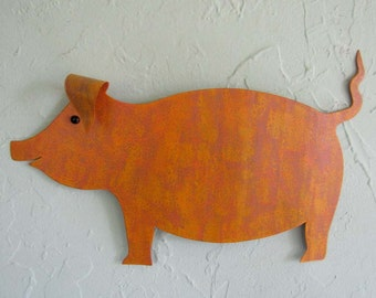 Kitchen Wall Art Metal Pig Sculpture Animal Wall Art Barnyard Wall Decor Pumpkin Orange Marigold Yellow Recycled Metal Wall Art 9x13