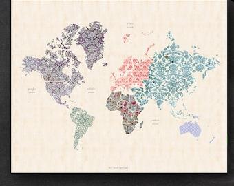 "Printable World Map - 16"" x 20"" Shabby Chic PDF - Nursery Decor Homeschool Classroom Geography"