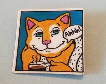 Vintage RL Baldwin Cat pin, Cat pin, Cat with cup of coffee pin, RL Baldwin pin