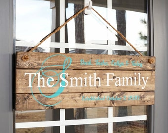 Family Initial Name Sign- Mother's Day Gift for Wife- Monogram Family Gifts- Family Sign Home Decor- Monogram Last Name Sign- Wood Signs