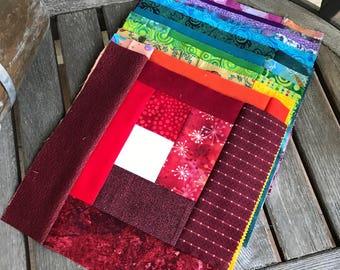 "12 Scrappy Rainbow Log Cabin 9 1/2"" sq. Quilt Blocks   DIY Colorblock Quilt    UNfinished Rainbow Log Cabin Quilt   Stash Builder"