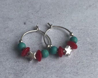Sterling Silver earrings with turquoise and coral beads