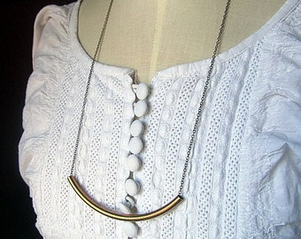 Romantic tube pendant necklace antique broze chain 25inch whimscal wedding