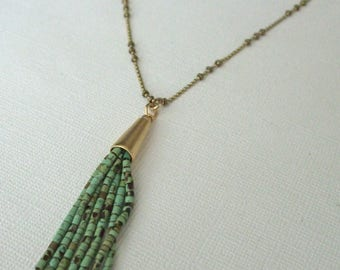 Green Turquoise Tassel Necklace, Bohemian Jewelry, Beaded Tassel, Tassel Jewelry, Long Necklace
