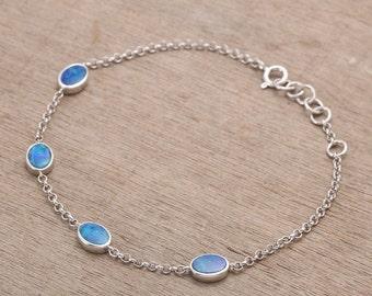 Blue Green Oval Opal Bracelet 925 Sterling Silver 3.77 grams SKU: 1991-4