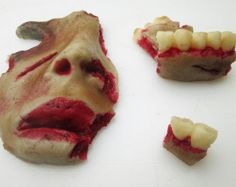 Edible Zombie Face Parts (4) - 3D edible zombie - zombie food - Halloween cake decoration - zombie party - zombie gift - zombie candy