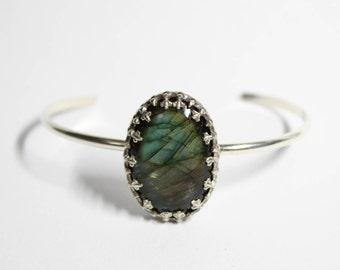 Oval Labradorite Sterling Silver Cuff Bracelet