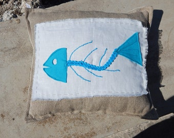 Fish Bone Pillow - Summer Pillow - Handwoven Pillow