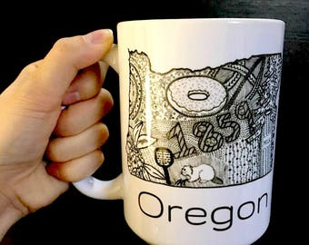 Oregon, big mug, smart, educational, teacher gift,office mug,geography,customized,personalized,State Design, coffee Mug, Coffee Lovers, gift