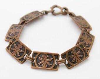 """Vintage Chunky Solid Copper Southwest Tribal Link Bracelet 8"""". [447]"""