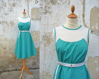 Vintage 1980/80s does 1950 turquoise cotton and net dress size S/M