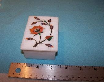 Alabaster or soapstone with inlay trinket box, flower design