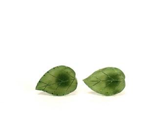 Leaf earrings - leaf studs - jade earrings - nature - green leaf earrings - green leaves - a pair of carved jade leaf stud earrings