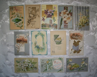 Vintage Easter Postcards Set Of Twelve Early 1900's Used Postmarked
