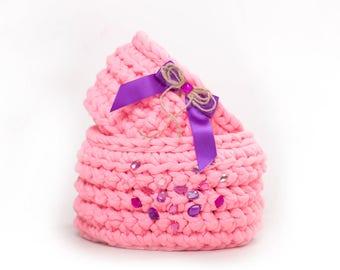basket, Set of pink baskets