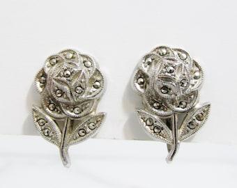 Vintage Earrings: Sterling Marcasite Flowers Screw Back Earrings