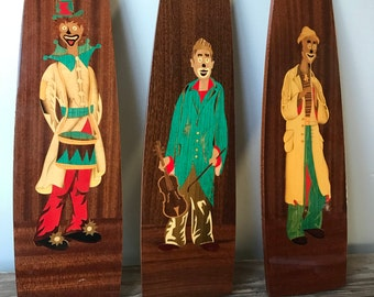 Colorful Marquetry Clowns Set of 3 Varnished Wood