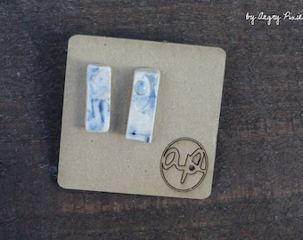 Earrings small rectangle ceramic white and blue