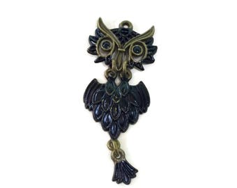4 Hand Painted Black Owl Pendant 64 x 28mm