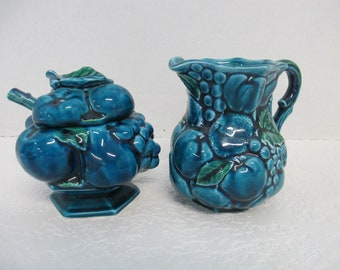 Vintage 4 piece Inarco Japan blue fruit set  sugar bowl with lid & spoon and creamer  tableware used good condition