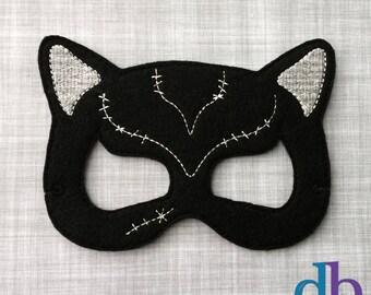 Cat Felt Embroidered Mask - Cat Lady Mask - Kid & Adult - Creative Play - Halloween Costume