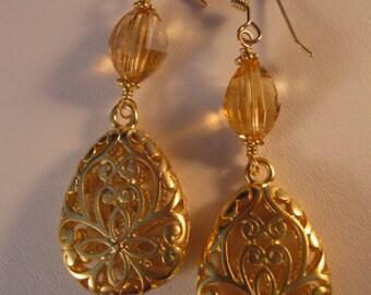 Gold Drop earrings, gold earrings, drop earrings, dangle earrings, cz earrings, cub  ic zirconia earrings, crystal earrings