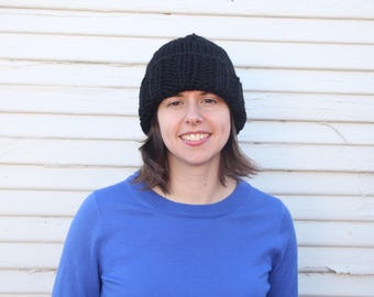 Hand knit beanie or slouch hat with wool blend yarn