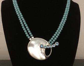 Turquoise , Mother of Pearl and Blue Topaz Necklace.