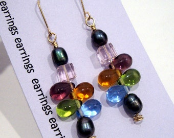 Dulce Crystal Pearl 14k Gold Drop Earrings