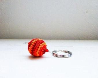 Crochet keychain, orange keychain, red keychain, beaded keychain, handmade, cute keychain, wooden beads, gift idea, ready to ship