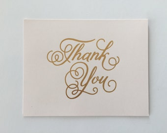 """Blush -""""Thank You"""" Card, Gold Foiled"""