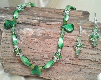Shades of Green Beaded Necklace Earring Set with Sterling Silver Hardware and Swarovski Crystals