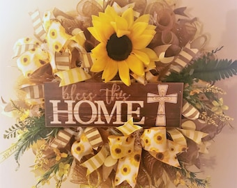 Bless this home Sunshine and Sunflowers Wreath