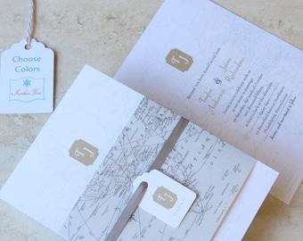Travel Theme Wedding Invitation - Vintage Map Wedding Invite - Destination Wedding - Monogram Belly Band Wrap - Choose Your Colors