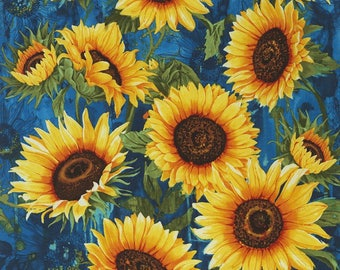 Sunflower, Kansas Flower, Sun Flower - Wild Gold for Timeless Treasures by Chong-a Hwang C 4344 - Priced by the 24-Inch Repeat