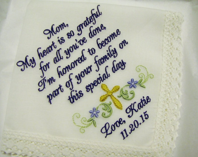 IVORY or White Mother of the Groom Handkerchief, Personalized from Bride to Mother of the Groom Wedding Handkerchief