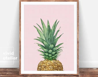 Tropical Decor, Pineapple Print, Pineapple Wall Art, Printable Art, Tropical Art, Kitchen Decor, Downloadable Prints, Tropical Print, Poster