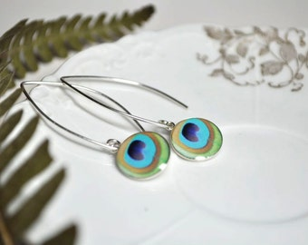 PEACOCK. Eclipse dangle earrings.    (Sterling Silver)