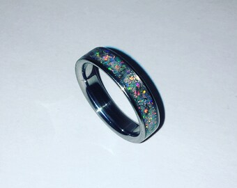 Fire Opal Inlay ring.