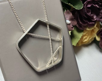 Sterling silver Pentagon pendant necklace
