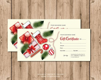 Gift Certificate Template,Editable  Photoshop & Elements Template,Christmas, Holiday Gift Certificate Template, Instant download