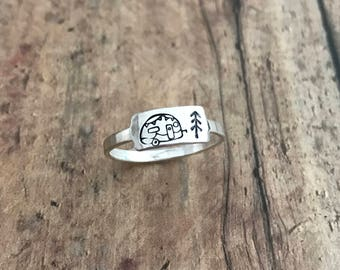 Camper Trailer and Pine Tree Ring, Sterling Silver Camper Trailer and Stick Pine Tree Ring