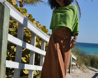Hemp skirt custom made and hand dyed // organic clothing // eco-friendly // hemp clothing // maxi wrap skirt